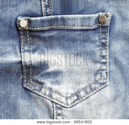 Blue Jeans With Pocket Closeup