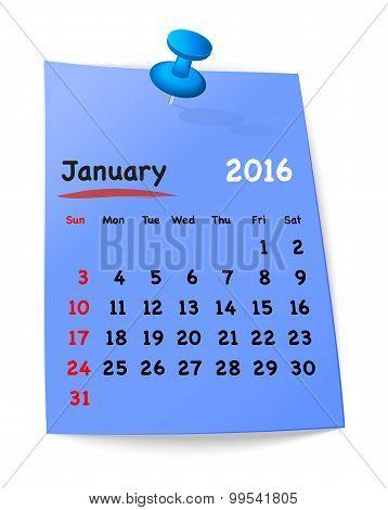 Calendar For January 2016 On Blue Sticky Note