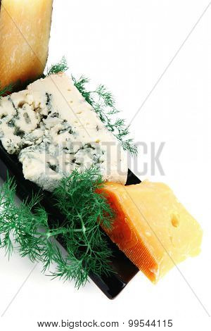 four type of delicatessen cheeses on plate
