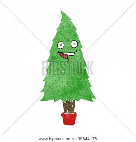 retro cartoon christmas tree