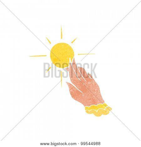 retro cartoon hand reaching for sun