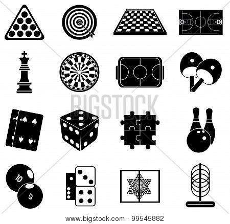 Indoor games icons set
