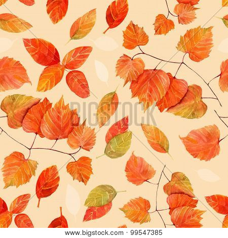 Seamless autumn leaves watercolour pattern, toned
