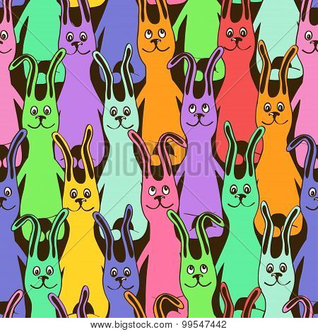Seamless Pattern Of Colorful Funny Bunnies.