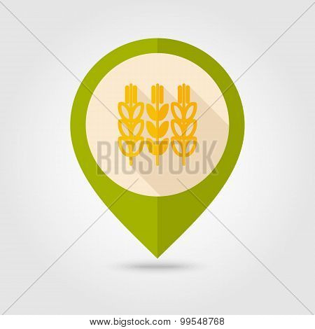 Spikelets Of Wheat Flat Mapping Pin Icon