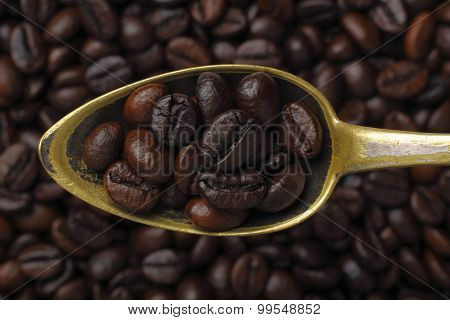 Spoon With Coffee Grains (Robusta Coffee)