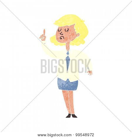 retro cartoon woman making point