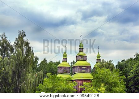 Green Wooden Domes Of The Orthodox Church