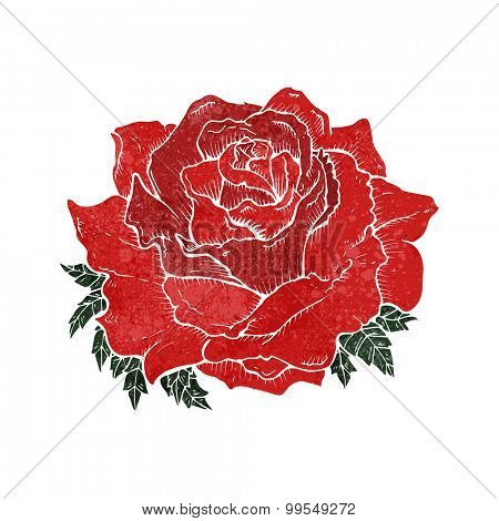 retro cartoon rose tattoo