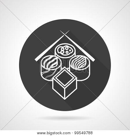 Sushi black round vector icon