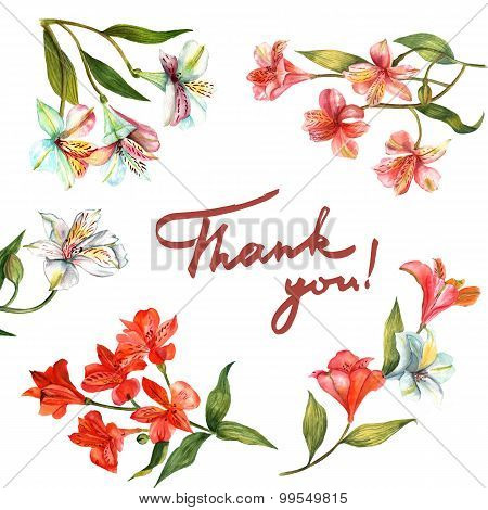 Post card with watercolour flowers and handwritten words 'Thank you'