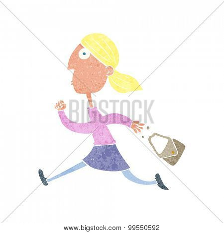 retro cartoon running woman stressed