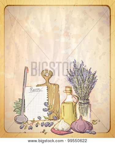 Vintage style paper backdrop with empty place for text and graphic illustration of provence still life.