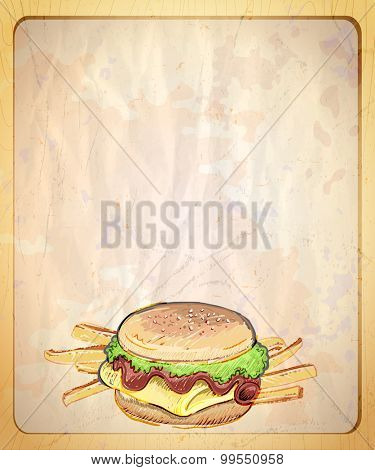 Old style paper menu list with empty place for text and  hand drawn graphic illustration of burger and fries.