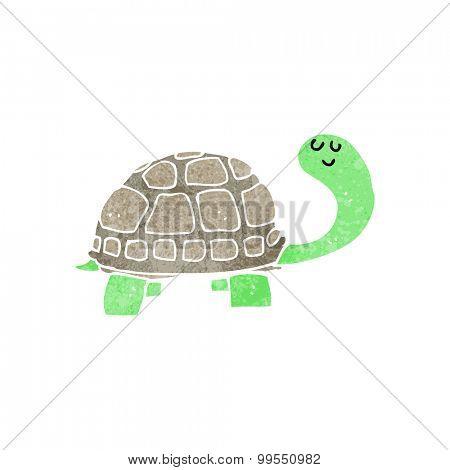retro cartoon happy tortoise