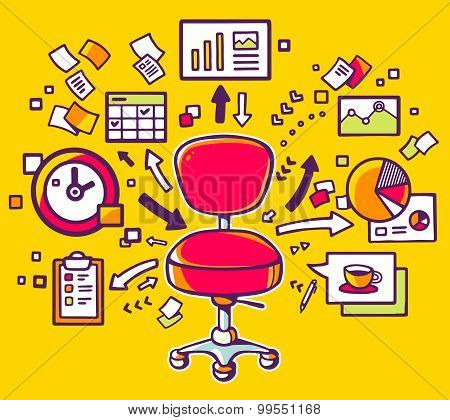 Vector Illustration Of Red Office Chair With Documents And Financial Charts On Yellow Background.