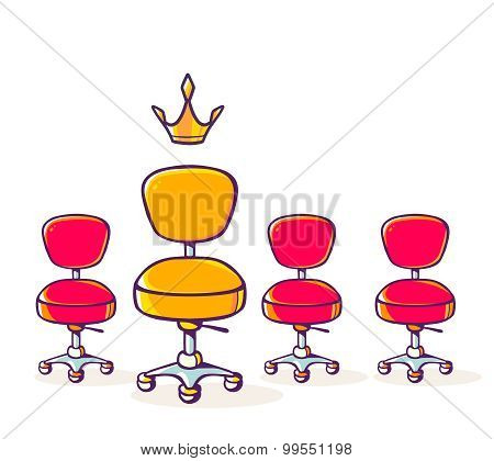 Vector Illustration Of Set Of Red Office Chair And One Yellow Chair With Crown On White Background.