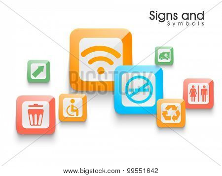 Set of various colorful signs and symbols on shiny background.