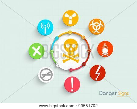 Set of various colorful danger signs and symbols on shiny background.