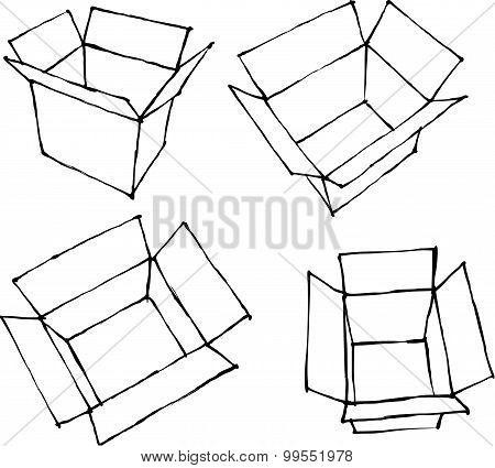 Hand Drawn Open White Boxes On White