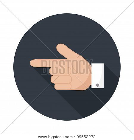 Forefinger Icon  With Long Shadow.