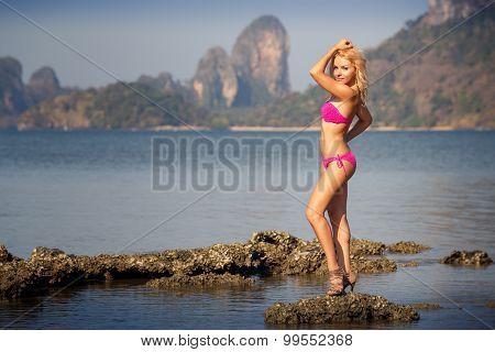Blonde In Pink Swimsuit  On Rock In Sea