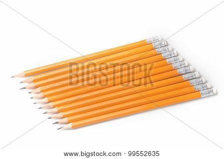 Yellow-coated Graphite Pencils In A Row