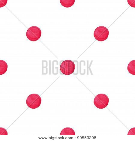 Watercolor Pink Handcrafted Polka Dot Seamless Pattern