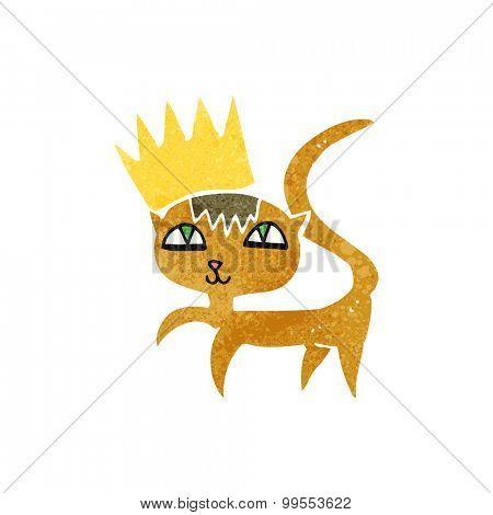 retro cartoon cat with crown