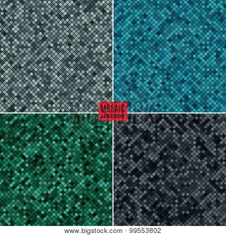 Set Background Abstract Mosaic Of The Pixel Pattern Grid And Squares Different Color. Stock Vector I