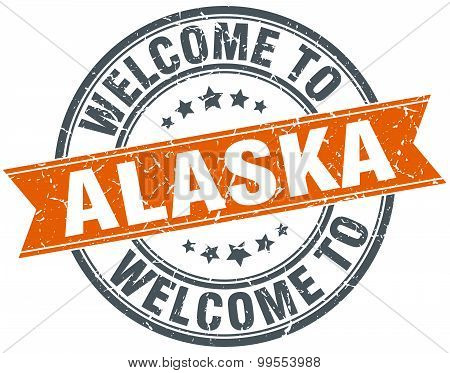 Welcome To Alaska Orange Round Ribbon Stamp