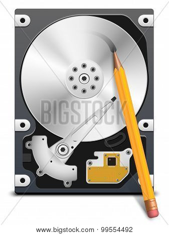 Pencil Writes Information On The Hdd, Vector