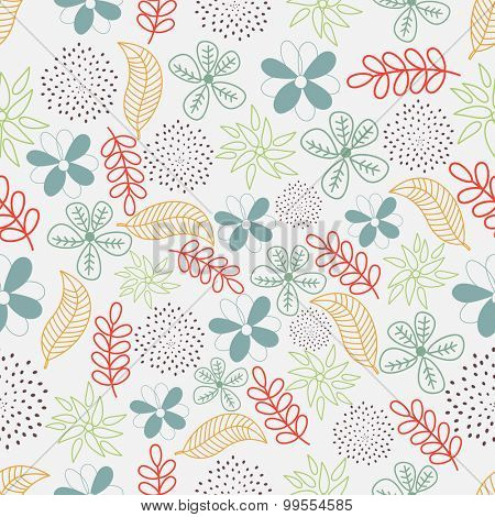 Colorful florals and leaves decorated pattern for Nature concept.