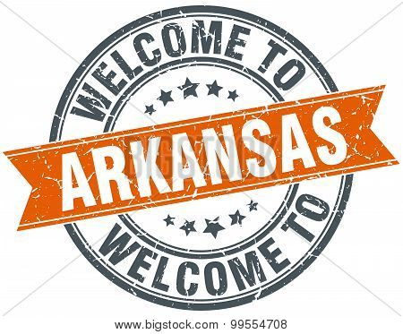 Welcome To Arkansas Orange Round Ribbon Stamp