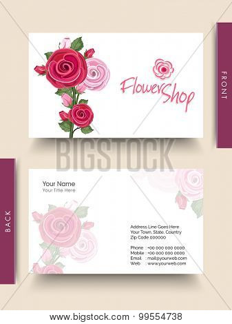 Beautiful fresh flowers decorated business card or visiting card for Flower's Shop.