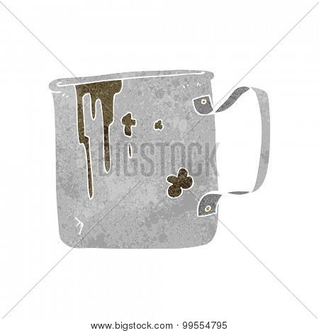 retro cartoon old tin cup
