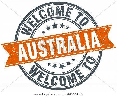 Welcome To Australia Orange Round Ribbon Stamp