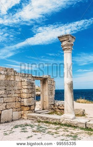 Ancient Greek Basilica And Marble Columns In Chersonesus Taurica