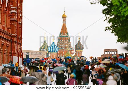 People walking in Red Square in Moscow, Russia.