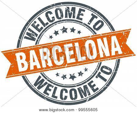Welcome To Barcelona Orange Round Ribbon Stamp