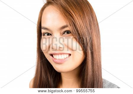 Portrait Genuine Real Asian Girl Smiling Headshot