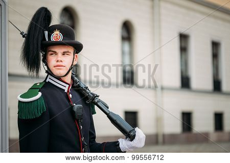 Royal Guard guarding Royal Palace in Oslo, Norway