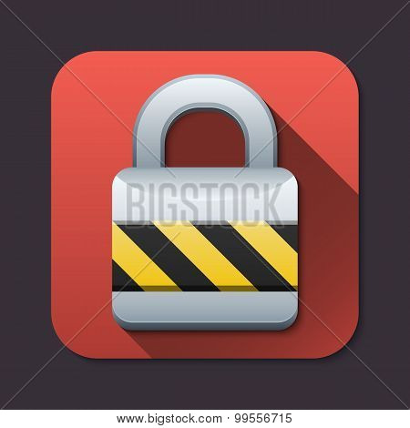 Vector Closed Padlock Icon With Long Shadow