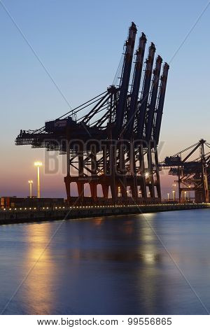 Hamburg Waltershof - Container Terminals In The Evening