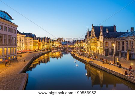 The Canal In Ghent City In Belgium