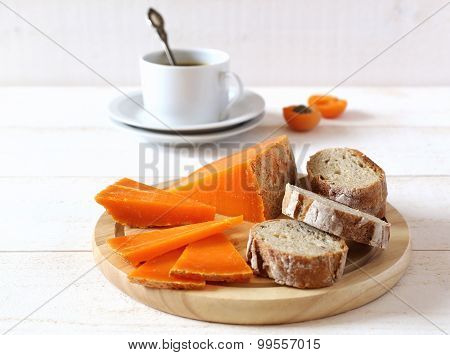 Mimolette Cheese, Bread And Cup Of Coffee