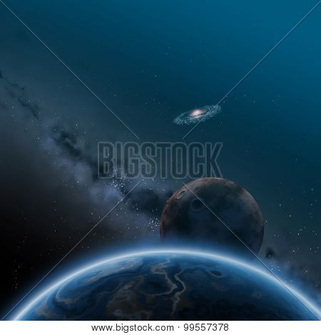 Worlds, space illustration