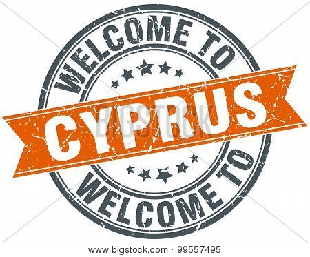 Welcome To Cyprus Orange Round Ribbon Stamp