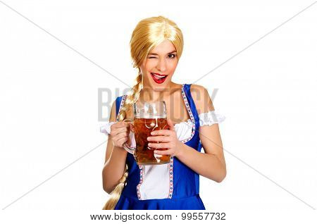 Happy laughing beautiful bavarian woman with beer.