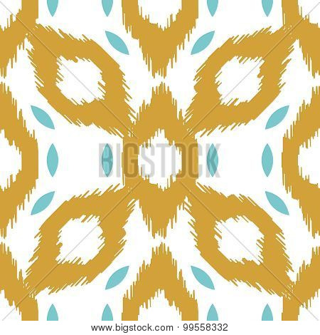Ikat vector seamless pattern. Abstract geometric dijon yellow background for fabric, print or wrappi
